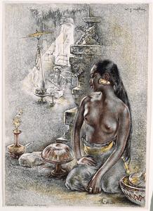 Zittende vrouw met offergaven
