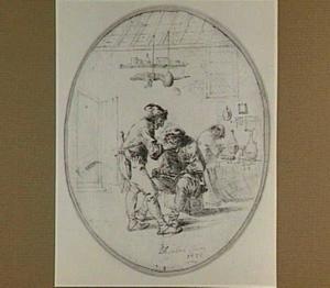 Kwakzalver en boer in interieur