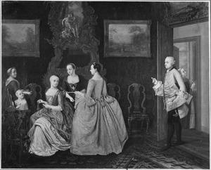Familiegroep in een interieur