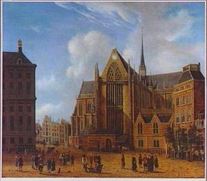 Gezicht op de Dam in Amsterdam met de Nieuwe Kerk