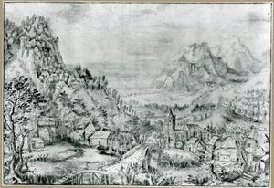 Landschap met zicht op een dorp in een dal