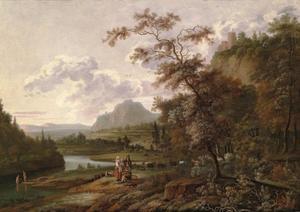Berglandschap met rustende herders bij een rivier