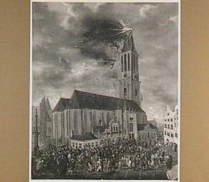 Brand in de toren van de St. Michaelskerk te Zwolle op 7 juni 1669