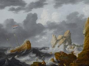 Schip op een stormachtige zee met schipbreukelingen