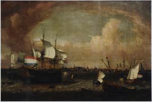 Het Hollandse linieschip Westvriesland en andere schepen op de rede van Hoorn