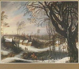Winterlandschap met reizigers bij een dorp