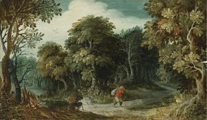 Boslandschap met twee reizigers