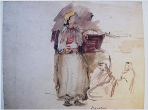 Staande vrouw in Oosters kostuum
