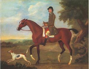 Mr. Russell op zijn bruine jachtpaard