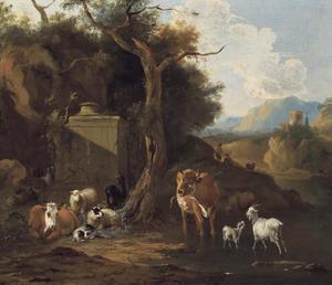 Italianiserend landschap met vee bij een drenkplaats