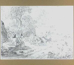 Herders met vee bij een landweg