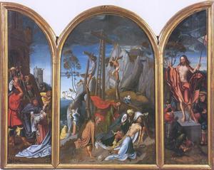 De kruisdraging (binnenzijde linerluik), de bewening (middenpaneel), de verrijzenis (binnenzijde rechterluik)