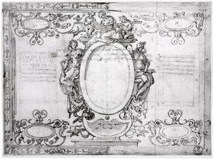 Tekenkunst, schilderkunst en architectuur rond een blanco cartouche