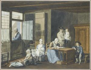 Interieur met grootmoeder de bijbel voorlezend aan haar familie
