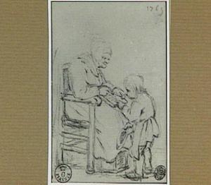 Oude vrouw die een kind leert lezen