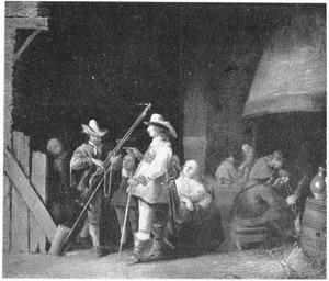 Rokende en pratende soldaten in een wachtlokaal