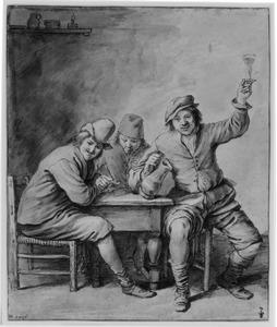 Drie drinkende en rokende boeren rond een tafel