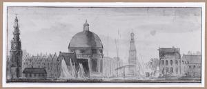 Gezicht op het Singel te Amsterdam vanaf het IJ, met van links naar rechts de Haringpakkerstoren, de Ronde Lutherse Kerk en de Jan Rodenpoortstoren