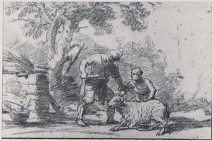 Abraham en Isaac leiden de ram naar de offerplaats (Genesis 21)