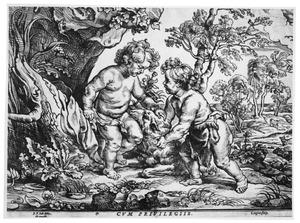 Christus en Johannes de Doper als kinderen met het lam in een arcadisch boslandschap
