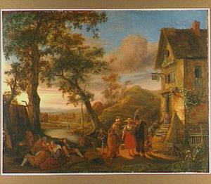 Landschap met zigeuners bij een herberg