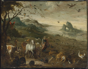 Landschap met God die de dieren schept (Genesis 1:20-23)
