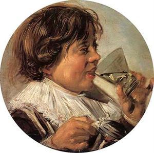 Jongen met glas en tinnen kan