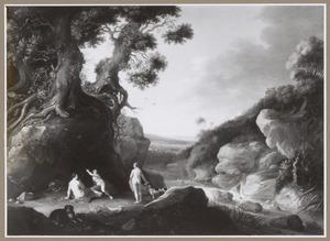 Bebost berglandschap met Diana en haar nimfen