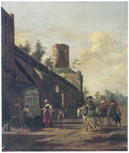 Reizigers en boeren bij de stadsmuur van Keulen; op de achtergrond de St. Pantaleon