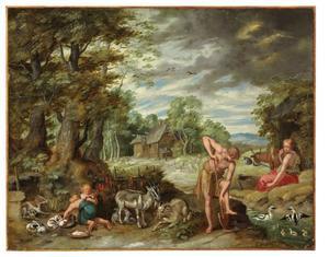 Het verhaal van Adam en Eva: Adam werkt op het veld