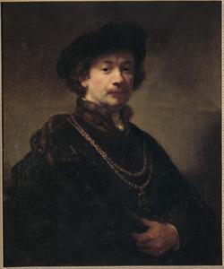 'Zelfportret met baret en gouden ketting met medaillon'
