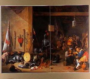 Wachtlokaal met soldaten en boeren