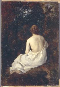 Jonge vrouw met blond haar, zittend