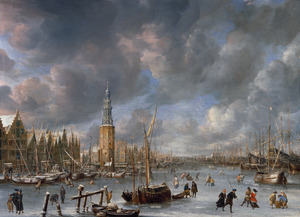 IJsvermaak bij de Haringpakkerstoren te Amsterdam