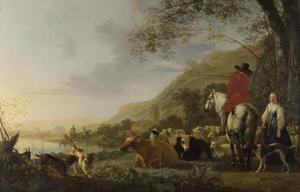 Heuvelachtig rivierlandschap met vee, ruiter en herderin