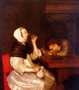 Interieur met drinkende vrouw en slapende soldaat