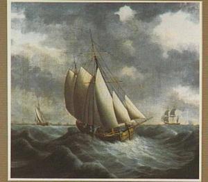 Kofschip met spiegeljacht en bark