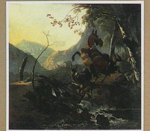 Berglandschap met twee ezels op een instortende brug boven een stroomversnelling