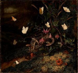 Onkruid met slang en vlinders