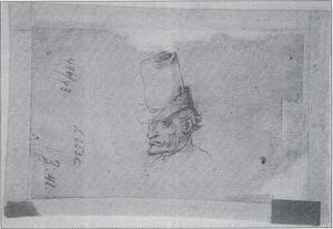 Studie van een mannenhoofd met hoge hoed