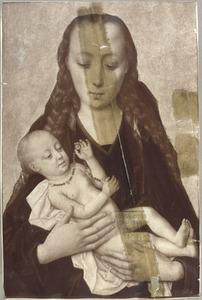 Maria met kind. Het kind speelt met een rozenkrans