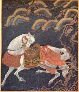 Een gezadeld paard vastgebonden aan een grove den