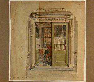 Ontwerp voor een trompe- l'oeil met een doorkijk naar een kamer