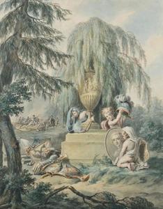 Allegorische voorstelling rond een portret van Frederik van Oranje-Nassau (1774-1799)