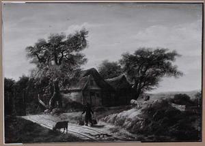 Landschap met boerderij in de beschutting van bomen
