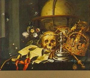 Vanitasstilleven met een globe, een kroon, een scepter, een schedel gekroond met stro, een lauwerkrans, een kandelaar, een brief, een horloge en bloemen