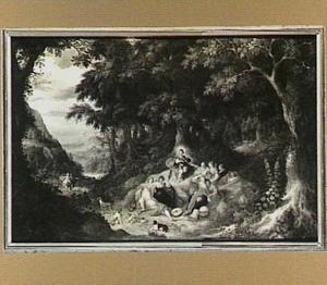 Boslandschap met Apollo en de muzen, links in de verte Pegasus