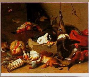 Stilleven met jachtbuit, vruchten, groenten, levende duiven en pluimvee en een kat en een hond.