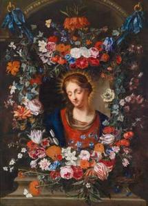 Madonna omringd door een bloemenkrans