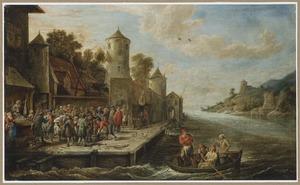 Vismarkt bij de muur van een stad aan een rivier